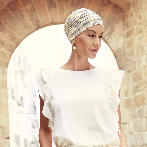 Yoga turban - printed, Summer Lemons